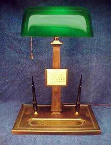 emeralite con porta penne lampada churchill ministeriale originale